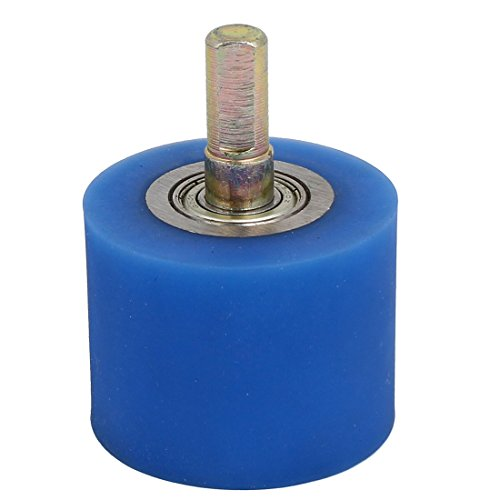 uxcell 10mm Dia Shaft 50mmx40mm Coating Machine Silicon Rubber Wheel Roller Blue by uxcell