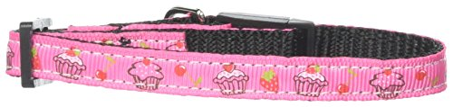 Mirage Pet Products Cupcakes Nylon Ribbon Collar for Cat, Bright Pink