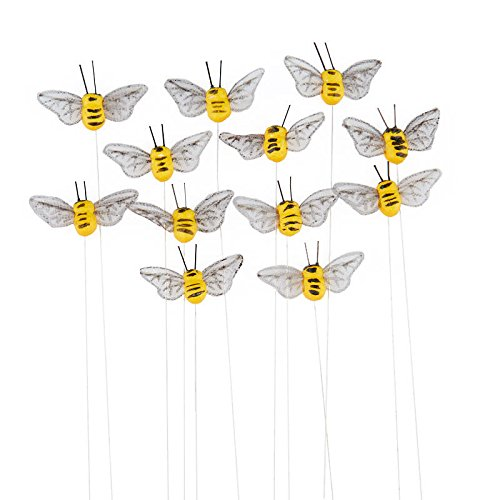 12 Yellow Artificial Mushroom Bumblebees with Attached Wire for (Bee Mushroom)