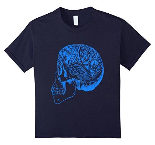 Kids Halloween Blue Vintage Skull Head T Shirt 12 (Dead School Boy Halloween Costume Ideas)