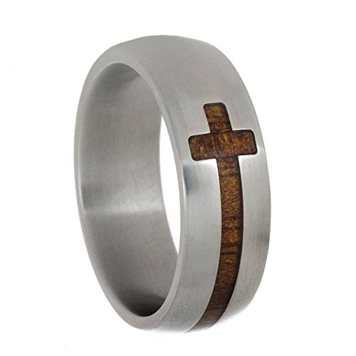 Cross Koa Wood Inlay 8mm Comfort-Fit Matte Titanium Wedding Band, Size 10.75 by The Men's Jewelry Store (Unisex Jewelry)