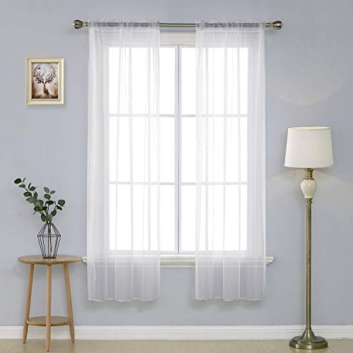 Deconovo White Sheer Curtains 72 Inch Length-Rod Pocket Voile Drape Curtains for Bedroom 2 Panels 38x72 Inch (Polyester Panel Sheer Curtains)