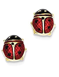IceCarats 14k Yellow Gold Enameled Ladybug Post Stud Earrings Animal Insect