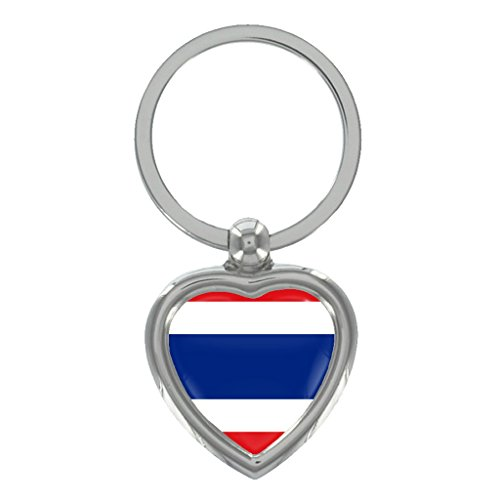 Thailand Flag Metal Heart Shape Keyring in Gift - Thailand Shape