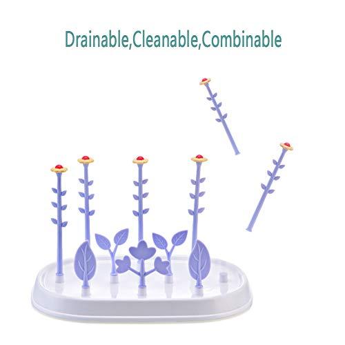 (MEETGG Infant Bottle Drying Rack,Innovative Detachable Flower Shaped Baby Bottle Pacifier Countertop Tree Drying Rack, Multifunctional Child Nursing Bottle Rack Drying Rack,Purple)