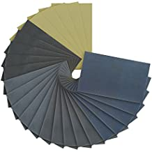 "Dura-Gold - Premium - Wet or Dry - Ultra Fine Variety Pack - Professional cut 5-1/2"" x 9"" Sheets - 5 each of (800, 1000, 1500, 2000, 3000) Automotive Woodworking - Box of 25 Sandpaper Finishing Sheets"