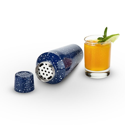 Foster & Rye Camping-Style Speckled Enamel Cobbler Cocktail Shaker & Double Jigger Set by