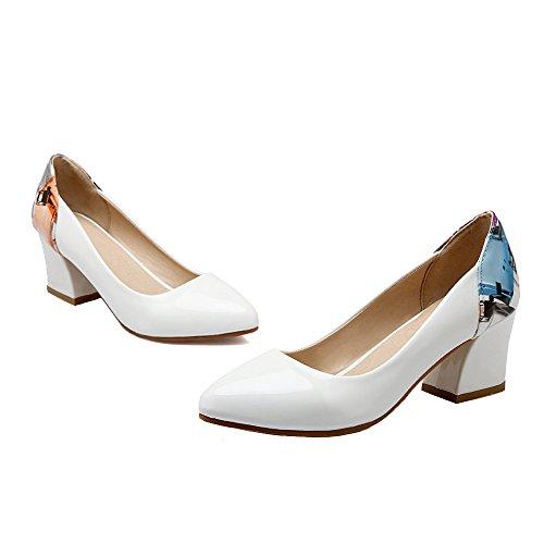 Enmayer Femmes Printemps Et En Été Cuir Verni Cône Moyen Talon Pompes Chaussures Blanc