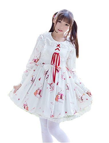 Japanese Doll Costume (ROLECOS Womens Lolita Dress Long Sleeves Doll Collar A Line Pleated Mini Dresses White L CC2980)