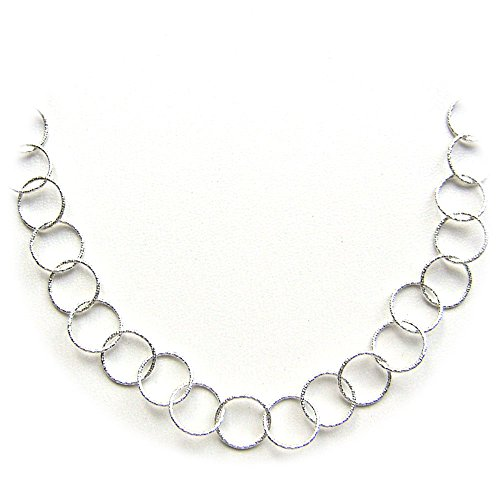 Hammered Diamond Link (Round Sterling Silver Diamond-Cut Large Links Necklace Italy 36 Inch)