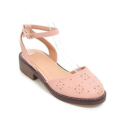 Zapatos Sujetadores Mujer Sandalias Slotted Rosa De Zapatos Negrita Cabeza De Con De Light Baotou Mujer Redonda Verano De Tallada GAOLIM PdfpxP