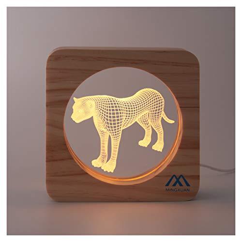 3D Night Light Leopard Optical Illusion Night Lamp Creative Wooden Warm Light USB Low Power Lamp Nursery Decorative Night Light Birthday Girls Kids Baby Boys ()
