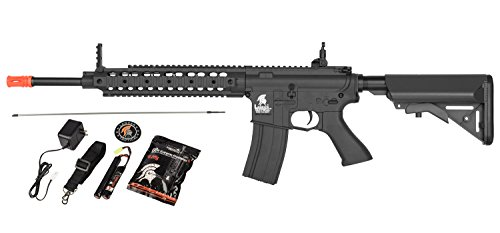 Lancer Tactical AEG SR-16 Electric Auto Airsoft Rifle Gun w/Battery + Charger (Black)