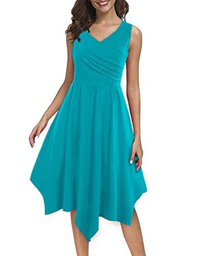 (SOLERSUN Dress for Women Summer,Women's Elegant Beach Wedding Dresses Pleated Asymmetrical Hem A Line Flowy Dresses Blue)