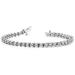 18K White Gold Diamond Round Brilliant 3 Prong Set Tennis Bracelet (6.0ctw.) - Size 9.75