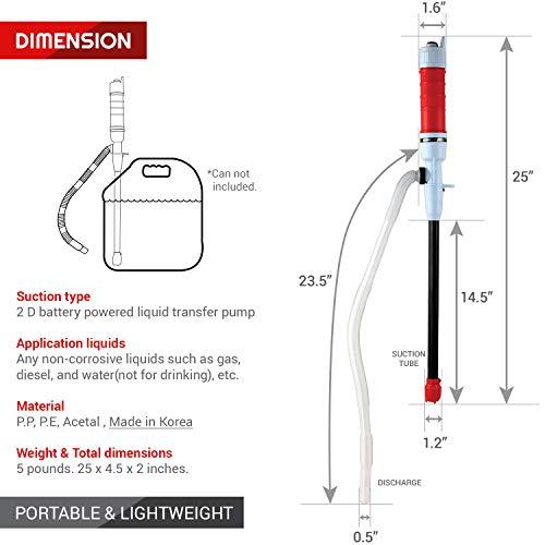TERAPUMP TRHD01 BATTERY POWERED WATER, DIESEL, GAS, OIL TRANSFER PUMP, 2 D BATTERIES by TERA PUMP (Image #2)