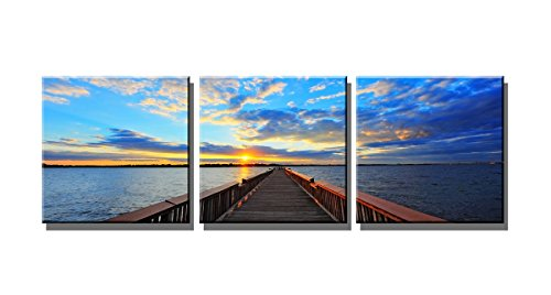 Wieco Art 3 Piece Giclee Canvas Prints Wall Art Ocean Beach Pictures Paintings for Living Room Bedroom Home Office Decorations Bridge Under Sunset Modern Stretched and Framed Blue Landscape Artwork
