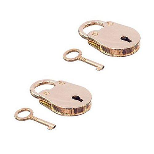 YEHAM Double Mini Padlocks and Keys(Brass)