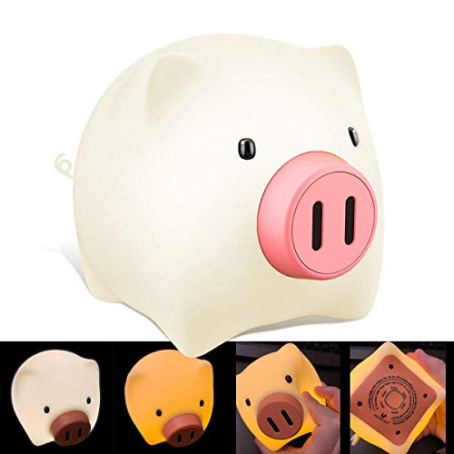 Wenscha Night Lights for Kids, LED Kids Baby Night Light Nursery Bedside Lamp for Breastfeeding, Timer Setting, USB Rechargeable, Soft Eye Caring, Changing Bright and Color Cute Pig Nightlight