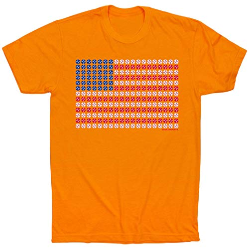 - ChalkTalkSPORTS Patriotic Baseball T-Shirt | Baseball Tees Orange | Adult X-Large