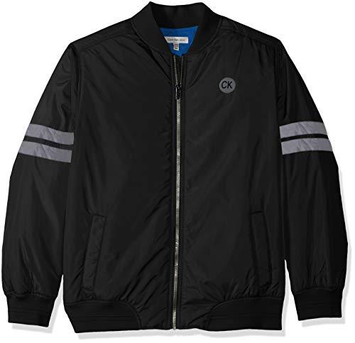 Calvin Klein Boys' Big Varsity Track Jacket, Black, Large (14/16) (Calvin Klein Jacket Boys)