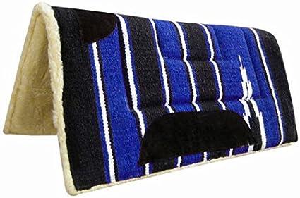 Pets2Care Almohadilla para Silla de Montar (Numnah Vaquero Forro Polar Negro/Azul 32x 32