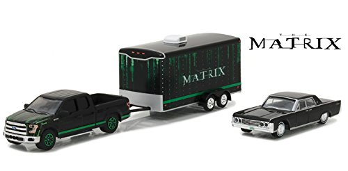 """2015 Ford F-150 Pickup Black & 1965 Lincoln Continental Black w/ Car Trailer Opening Rear Hatch """"The Matrix"""" (1999) Hollywood Hitch&Tow Series 4 1/64 Diecast Model Greenlight 31040 B"""