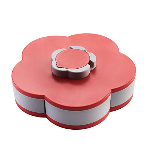 COM1950s Double-Layer Rotating Fruit Plate Petal Shape Dried Snack Storage Tray Home Living Room Candy Dish Dried Candy Food Storage Box Jewelry Organizer (Red, D)