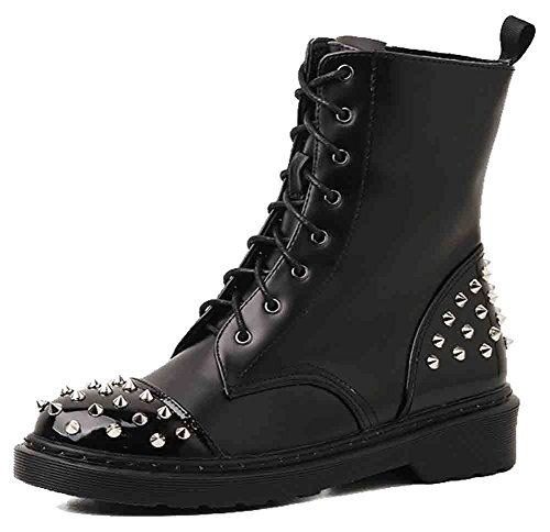 Platform Burnished Stitching Up Boots Black Easemax Round Womens Chunky Toe Lace Trendy Heel Mid Rivets tfwwpZ0q