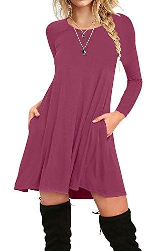 I2CRAZY Women's Long Sleeve Pockets Casual Plain T-Shirt Loose Dresses(11-Long Sleeve-Mauve,XL) by I2CRAZY (Image #1)