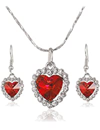 Heart Shaped faux Diamond Pendant Dangle Earring and Necklace Jewelry Set for Women Girls