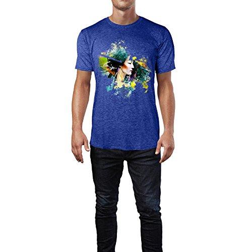 SINUS ART® Asiatische Frau im Colour Splash Stil Herren T-Shirts in Vintage Blau Cooles Fun Shirt mit tollen Aufdruck
