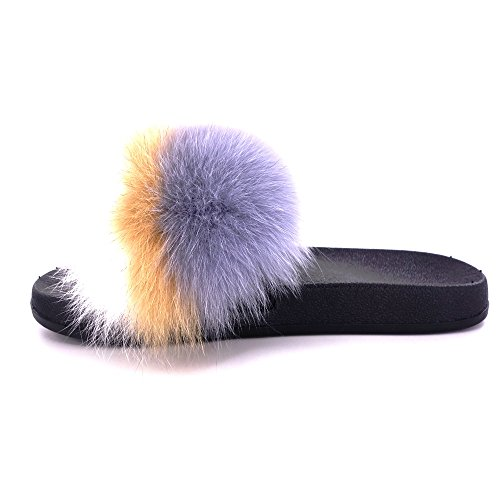 Vesa Fur Single Open On Sandals Slip Manka Vegan Color Leather Fox Mixed Real 12 Strap Toe Women Feather UwxxnqgdA