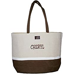 "Color Block Zippered Top Tote Beach Bag 21"" x 14"" x 6"" (Personalized Brown Name)"