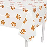 Fun Express - Puppy Pawprint Plastic Tablecover for Birthday - Party Supplies - Table Covers - Print Table Covers - Birthday - 1 Piece