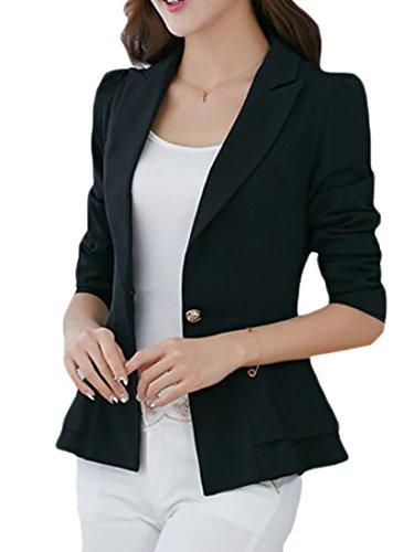 (Pandapang Womens One Button Lapel Peplum Slim Work Suit Blazer Jacket Coat Black L)