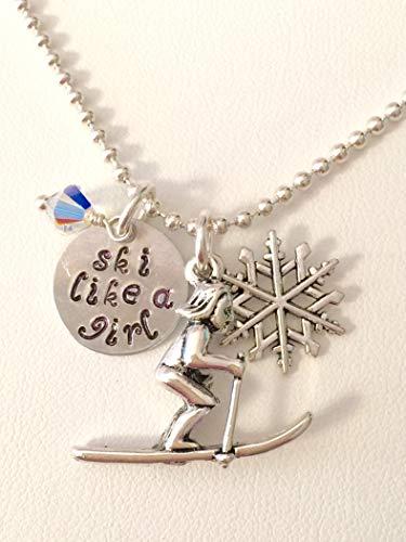 Sports Charm Ski Snow - Ski Charm Necklace, Snow Skier Necklace, Hand Stamped