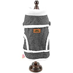 SMALLLEE_LUCKY_STORE Small Dog Suede Shearling Lined Winter Jacket Coat, Grey, S
