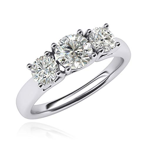 Stone Diamond Simulated 3 Ring - Solid Sterling Silver Three Stone Trellis Simulated Diamond Ring Promise Engagement ring 2.0ctw for Women (9.5)