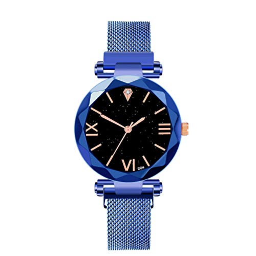 Bokeley Watches Women's Starry Sky Diamond Quartz Analog Watch Round Dial Wrist Watches with Magnetic Mesh Band (Blue)