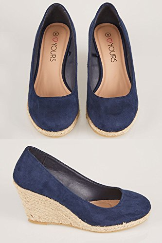 Yours Clothing Wide Fit Women's Closed Toe Espadrille Wedges In True Eee Fit Navy t04IRuKG