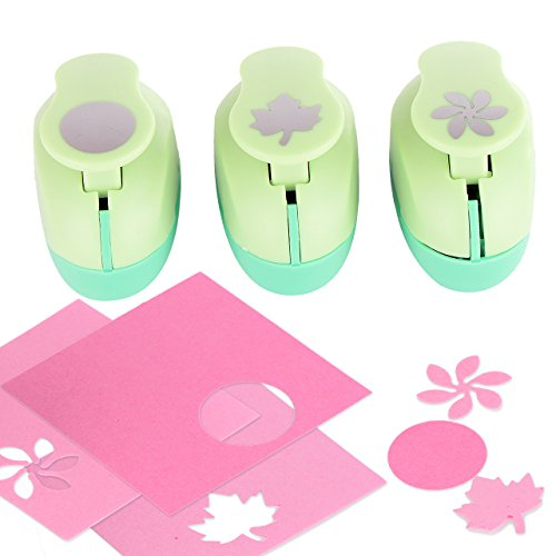 Envelope Craft Punch - Paper Punch Hole Puncher -- (3 PACK Circle Maple Leaf Retro Flower) -- Personalized Paper Craft Punchers Shapes Set -- For Scrapbook Engraving Kids Artwork -- Greeting Card Making DIY Crafts