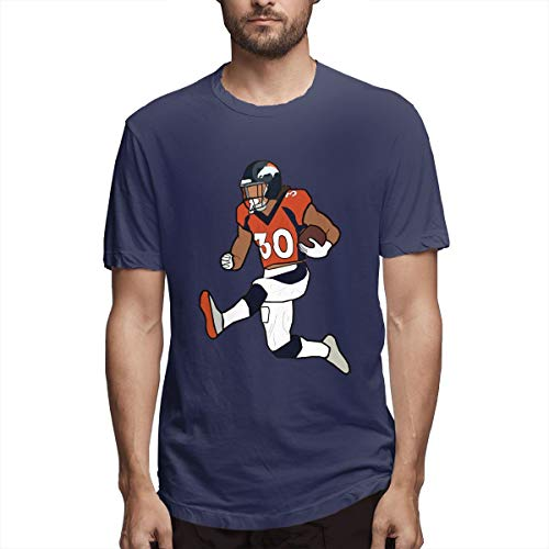 - Novelty Tshirts Navy Denver Lindsay Running Short-Sleeve T-Shirt Crewneck Tee for Men