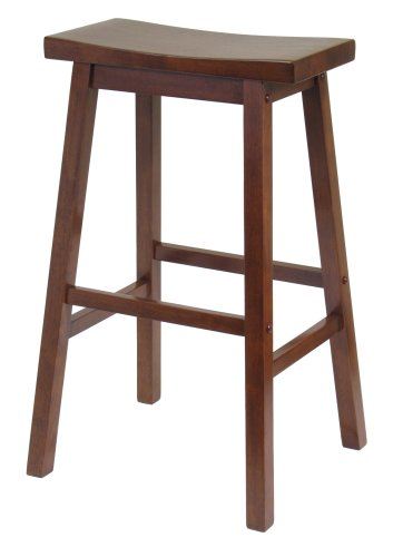 Winsome Wood 29-Inch Saddle Seat Stool, Walnut (Stools For Kitchen Bar)