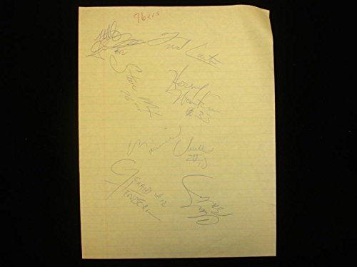 Late 1980's Philadelphia 76ers Autographed Note Page – 7 Signatures 1980 Philadelphia 76ers