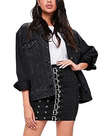 Eliacher Women's Boyfriend Denim Jacket Long Sleeve Loose Jean Jacket Coats (S, Black Washed)