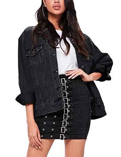 (Eliacher Women's Boyfriend Denim Jacket Long Sleeve Loose Jean Jacket Coats (XL, Black)