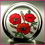 Decorative Hand Painted Stained Glass Paperweight in a Meadow Poppies Design.