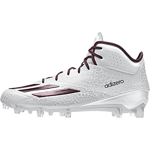 adidas Adizero 5Star 5.0 Mid Mens Football Cleat 11 White-Maroon