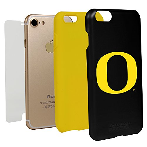 Guard Dog Black Hybrid Case for iPhone 7/8 and Guard Glass Screen Protector (Oregon Ducks)
